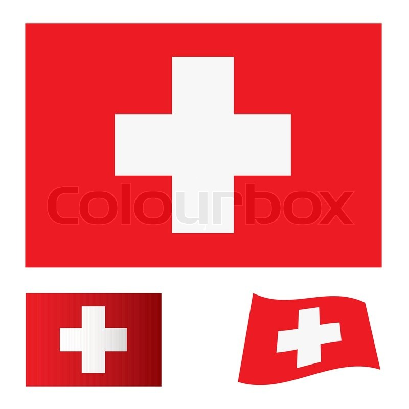 Red Flag Background With White Cross Swiss Icon Stock Vector