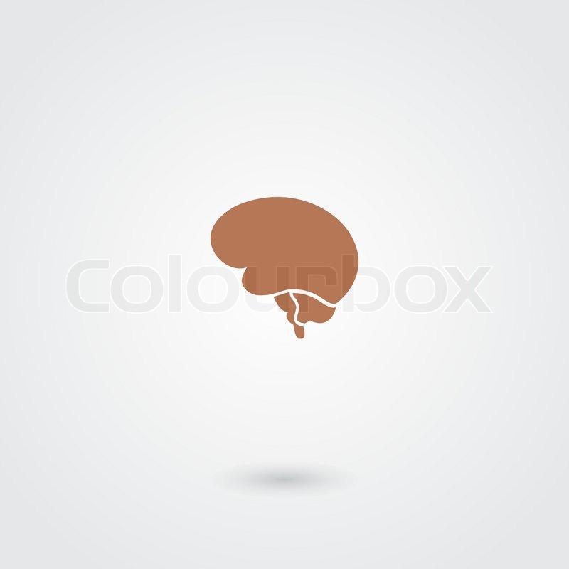 Computer Brain Icon Simple Minimalistic Brain Icon