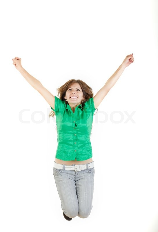 pretty woman or girl jumping with raised arms up of joy excited