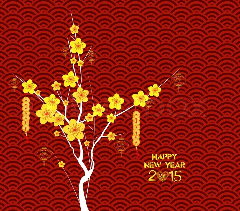 happy chinese new year flower lanterns background stock vector colourbox