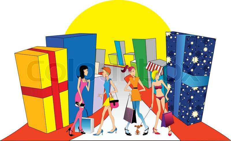 Gifts And Girls Go Shopping Vector