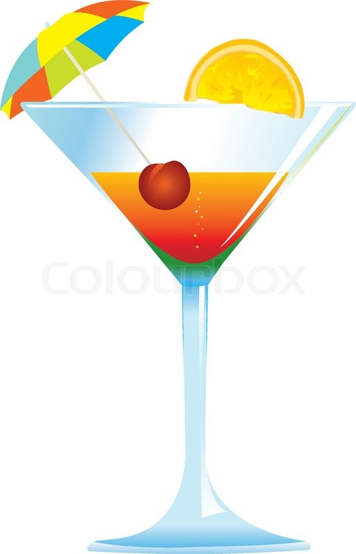 dressed cocktail with umbrella cherry and orange slice stock rh colourbox com cockatiel clip art cocktail clipart black and white
