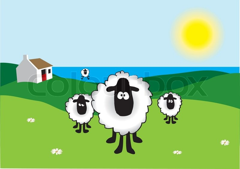 Stock vector of 'Sheep with Old Irish Cottage in the background'