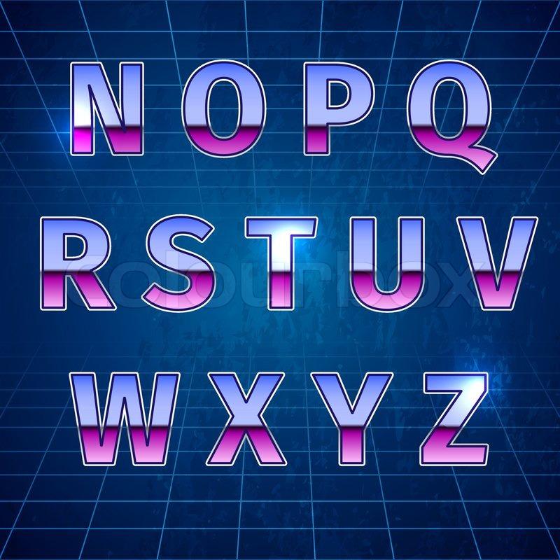 80s Retro Sci-Fi Font, beautiful     | Stock vector | Colourbox