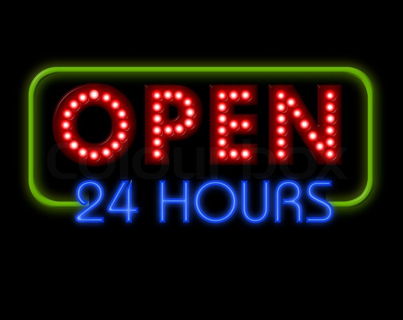 Open Neon Sign 24 Hours In Blue And Green Surround Stock