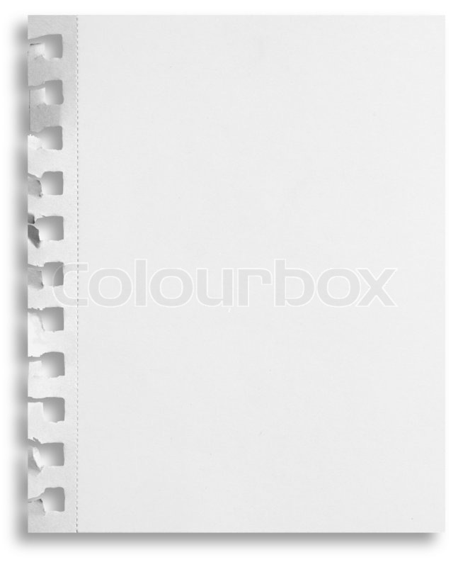 Blank White Paper Sheet With Torn Holes In Left Side Isolated On