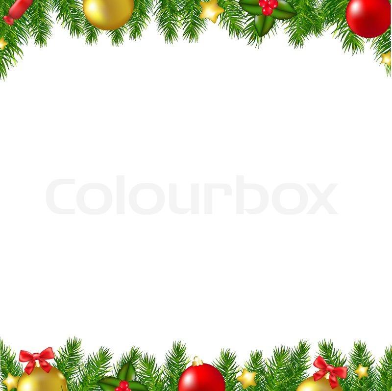Xmas Fir Tree Borders Card With Stock Vector Colourbox