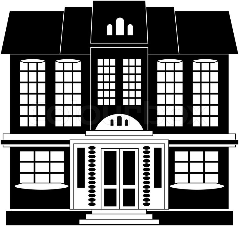 Black and white illustration of a two-storey house in classical style, vector