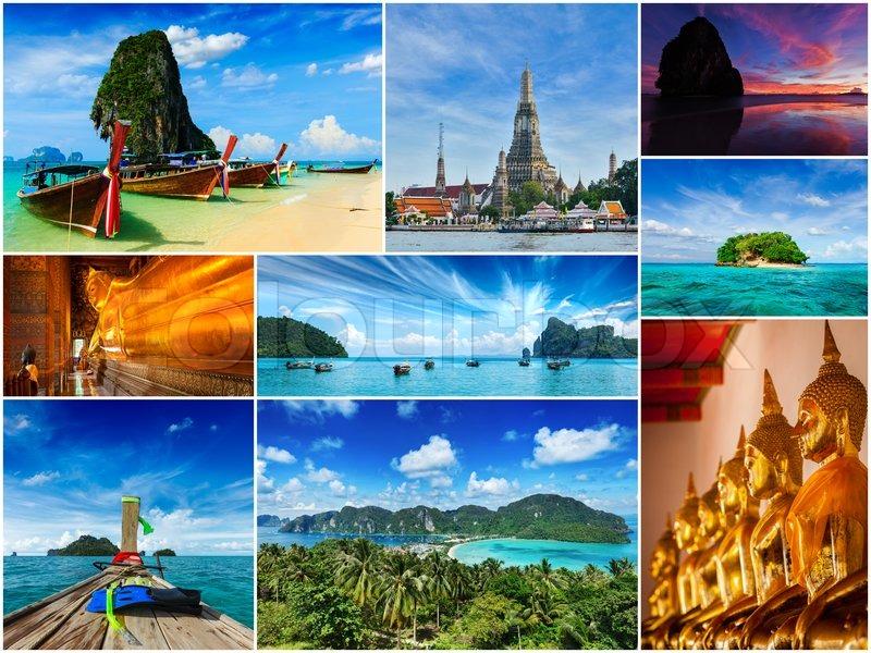 Thai Travel Tourism Concept Design Collage Of Thailand
