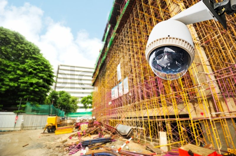 Cctv Or Surveillance Operating In Construction Site