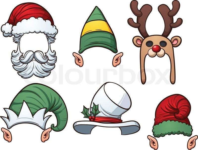 cartoon christmas hats. vector clip art illustration with simple
