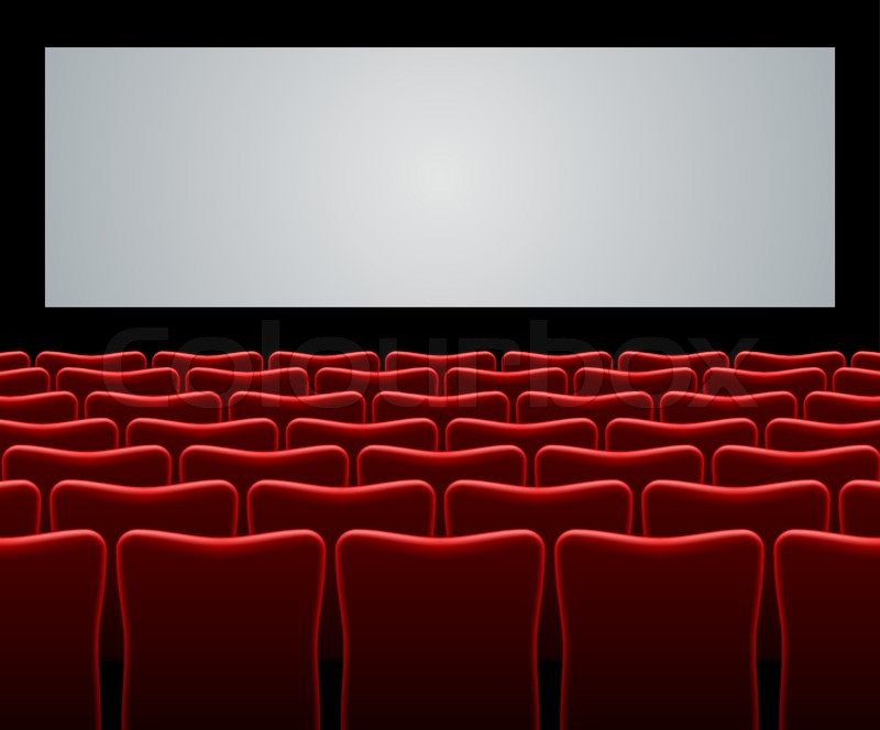 Movie hall with red seats and blank screen vector ...