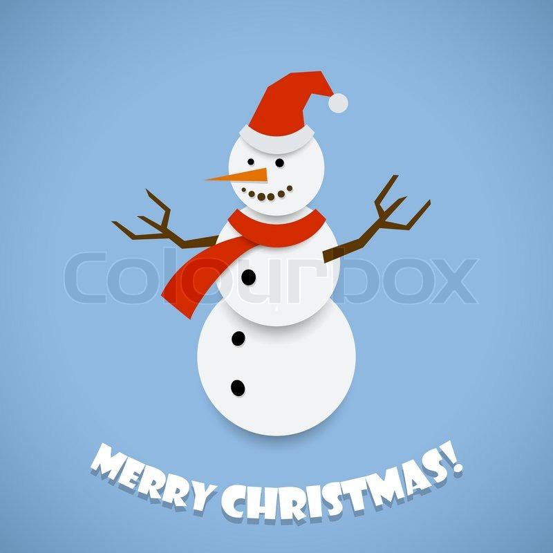 Paper snowman Christmas card design vector template. | Stock Vector ...