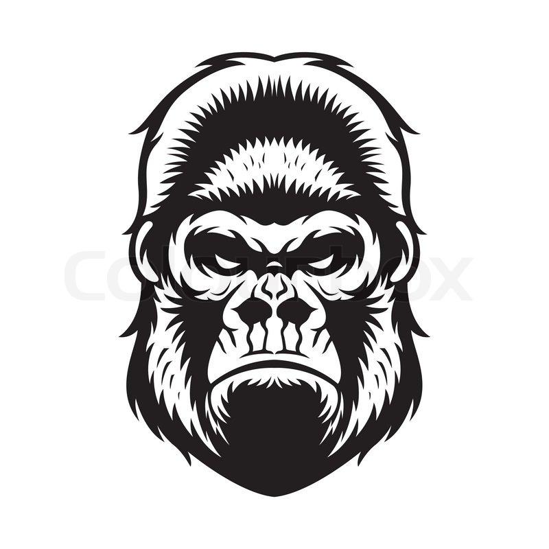 Gorilla head design illustration Vector  Premium Download