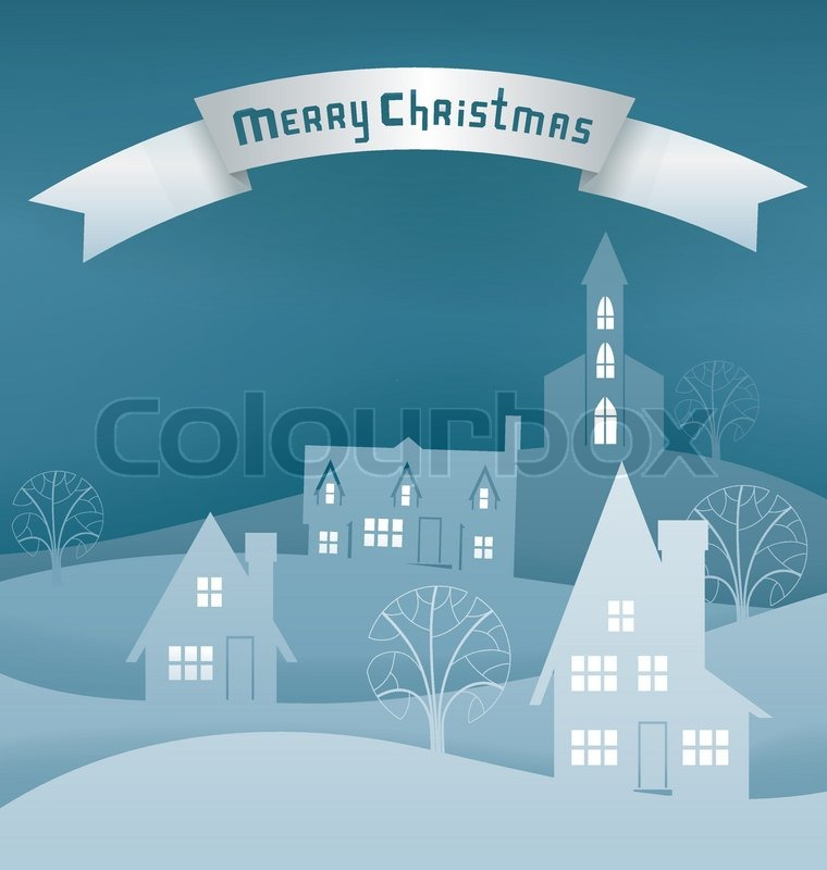 Paper cut scene for Christmas card with night winter village. Santa ...