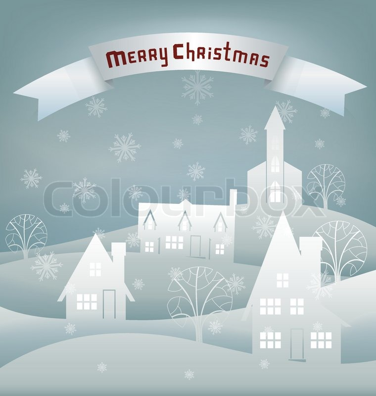 'Paper cut scene for Christmas card with night winter village. Santa ...
