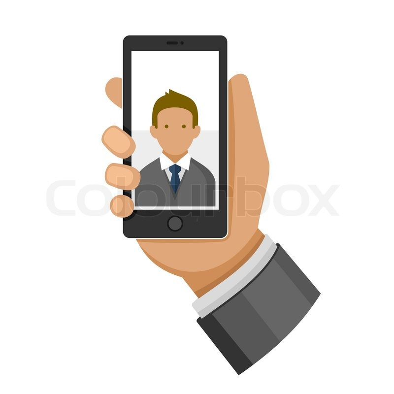 Making Selfie Photo on Phone Flat Icon. Vector illustration | Vector ...