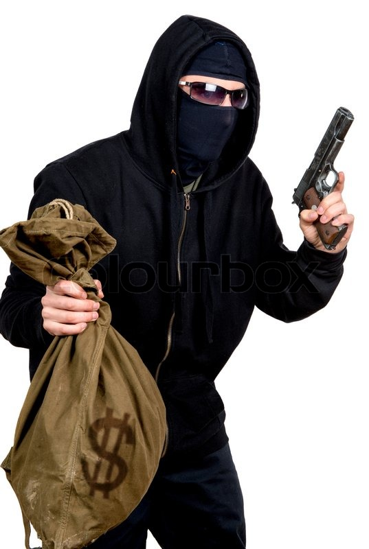 Hooded Robber With A Gun And A Bag Of Money Stock Photo