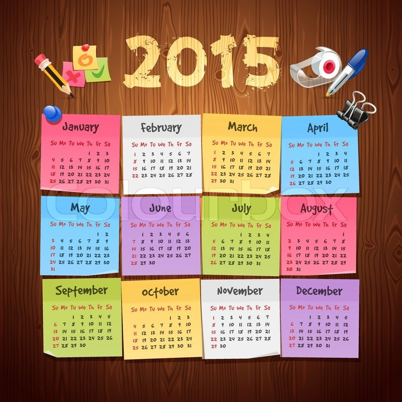 Office Stickers Calendar 2015 Calendar On Wooden Background. Clipping Paths  Included In Additional Jpg Format. | Stock Vector | Colourbox