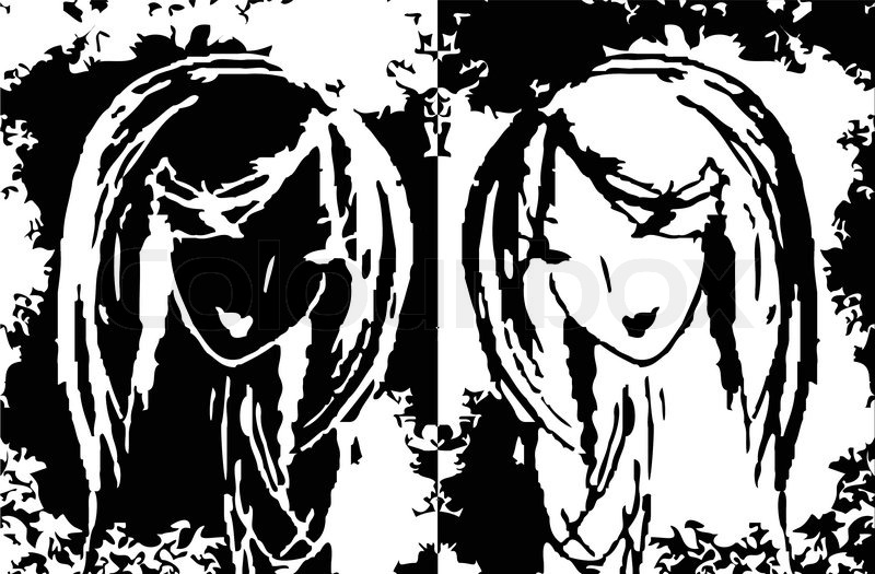 Abstract Two Women As A Symbol Pain Tears Suffering Sorrow
