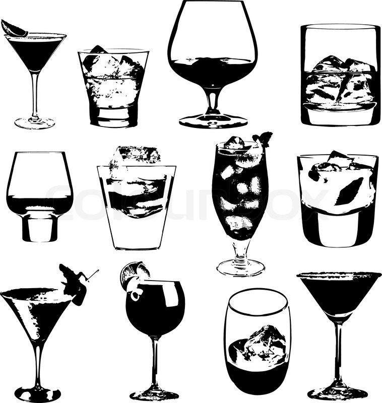 Cocktails Set Vector Glasses Collection Drinking