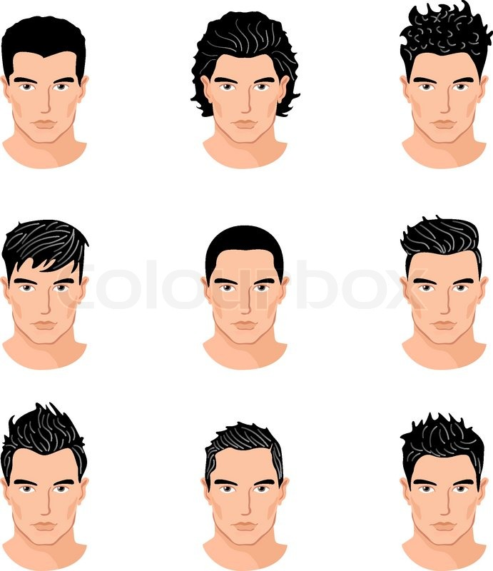 Set Of Close Up Different Hair Style Young Men Portraits