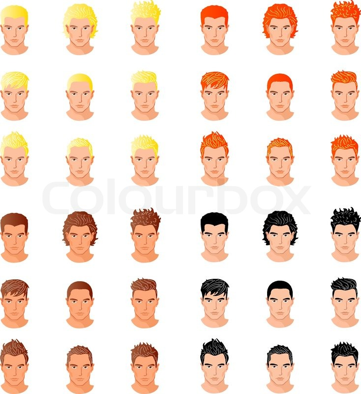 Set Of Close Up Different Hair Style Young Men Portraits Isolated