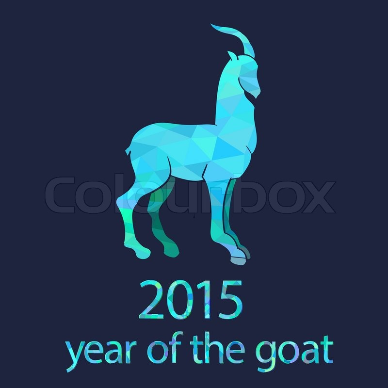 chinese new year 2015 goat with azure geometric pattern stock vector colourbox - Chinese New Year 1966