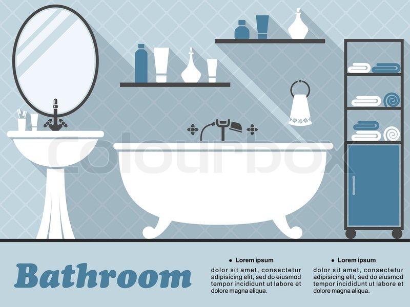 Bathroom interior in flat style with bath, mirror, wash basin, shelf and acce -> Banheiro Feminino Vetor Free