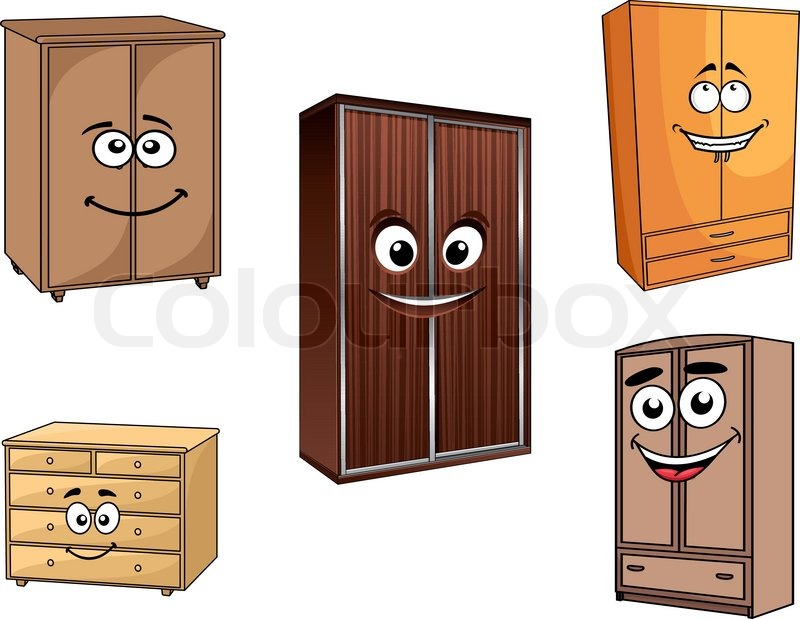 Wooden Bedroom Cupboards Set In Cartoon Style With