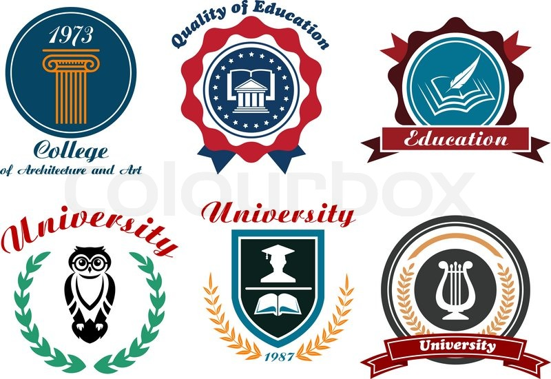 university and college emblems or badges set in retro