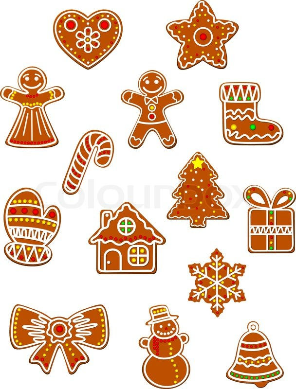 christmas and new year gingerbread cookies set with gingerbread man bow gift box and sock star and candy decorated colored sugar glaze for holiday design - Christmas Gingerbread Man