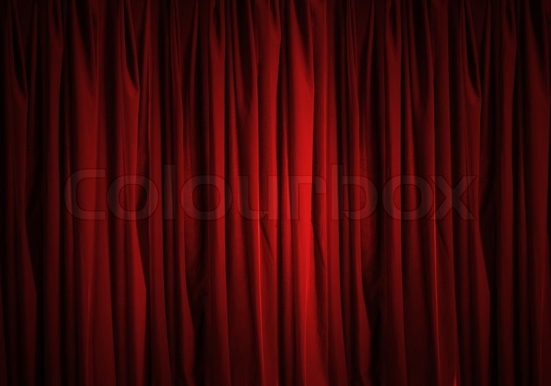 Background image of red velvet stage curtain | Stock Photo | Colourbox