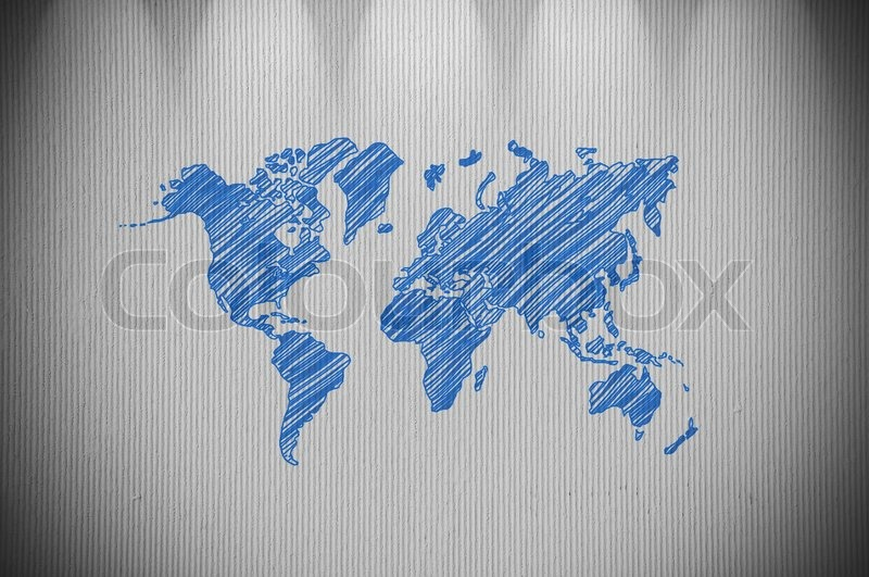 World map drawing on concrete wall textured stock photo colourbox gumiabroncs Images