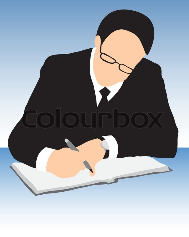 Business man signing a contract papers | Vector | Colourbox