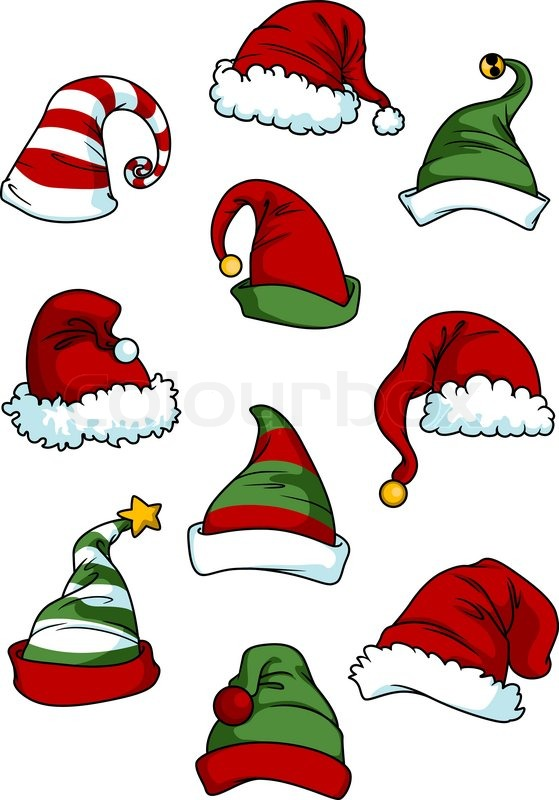 clown joker and santa claus cartoon hats set isolated on white for rh colourbox com cartoon hats pictures cartoon hats from films