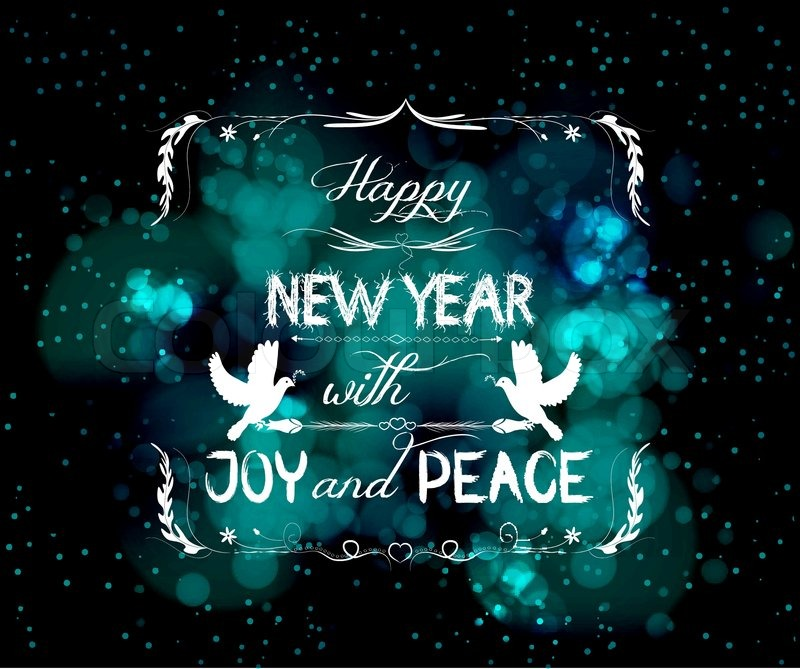 happy new year with joy and peace greeting card stock vector colourbox