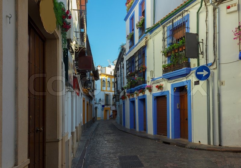 Colorful Street In Old Town Jewish Quarter Cordoba Spain