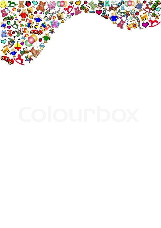 Little Boys Toys Border : Many little toys in the top vektorgrafik colourbox