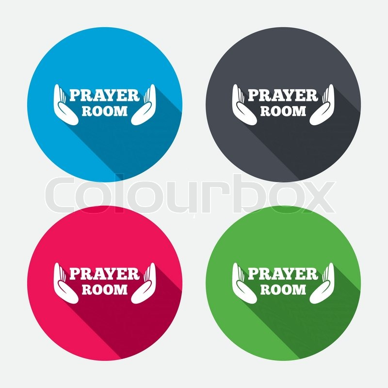 Prayer Room Sign Icon Religion Priest Faith Symbol Pray With Hands