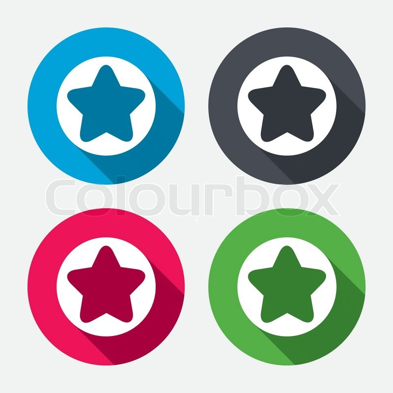 Star Sign Icon Favorite Button Navigation Symbol Circle Buttons