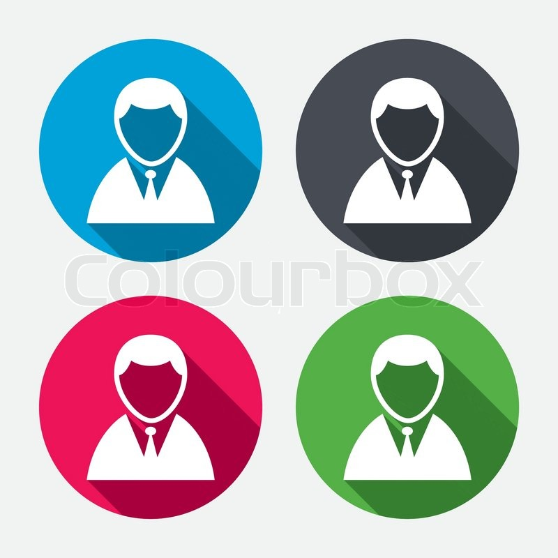 User Sign Icon Person Symbol Human In Suit Avatar Circle Buttons