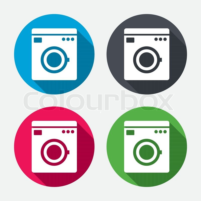 Washing Machine Icon Home Appliances Symbol Circle Buttons With