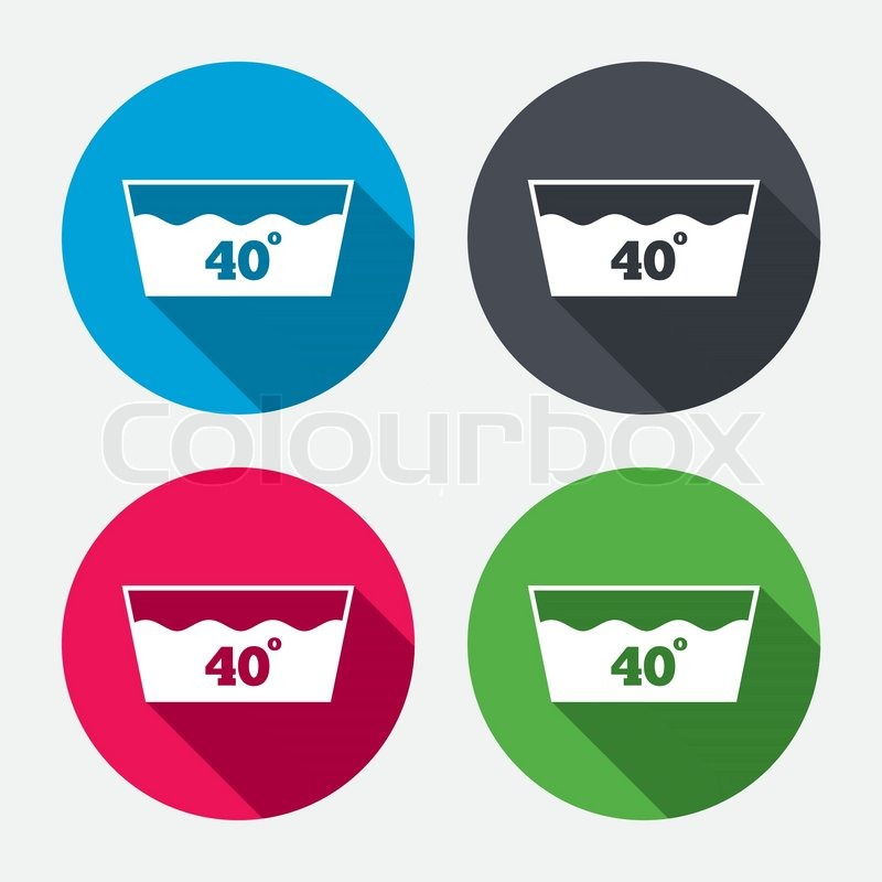 Wash Icon Machine Washable At 40 Degrees Symbol Circle Buttons