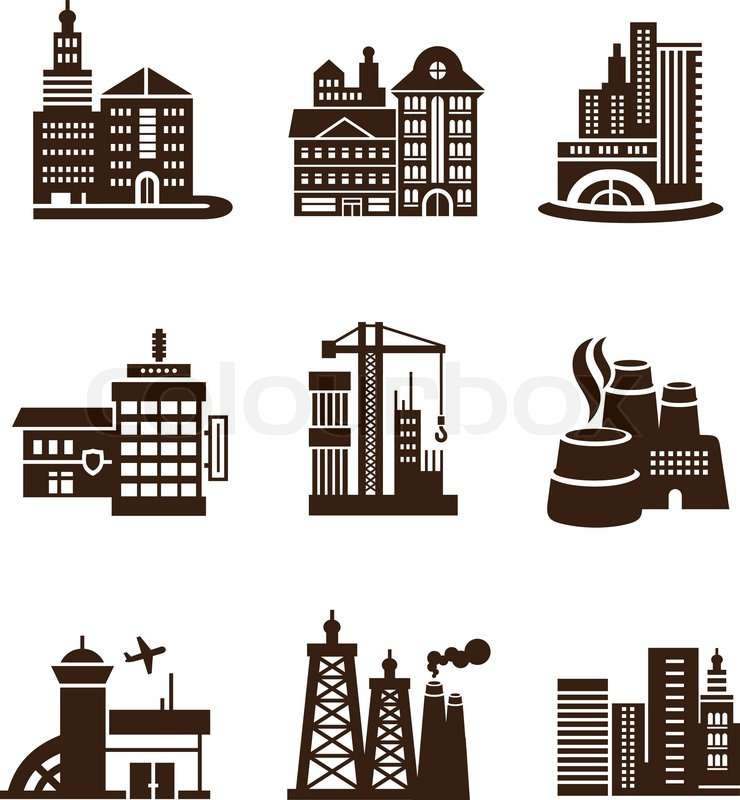 various types of construction city building icons set such as airport tv tower plant factory. Black Bedroom Furniture Sets. Home Design Ideas