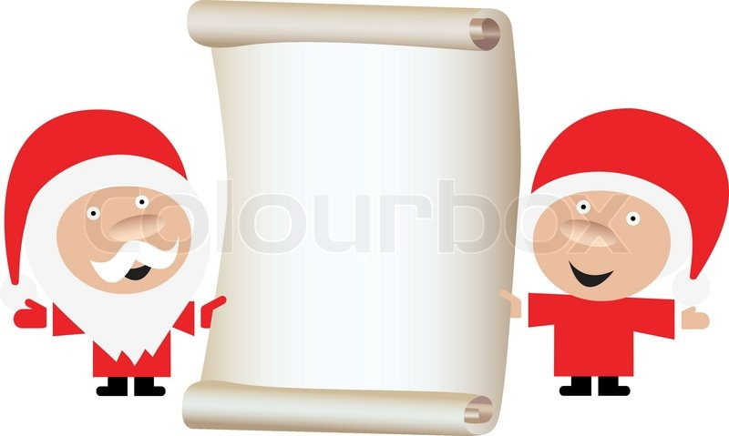Santa\'s Wish List. Santa Claus and wife holding blank paper scroll ...