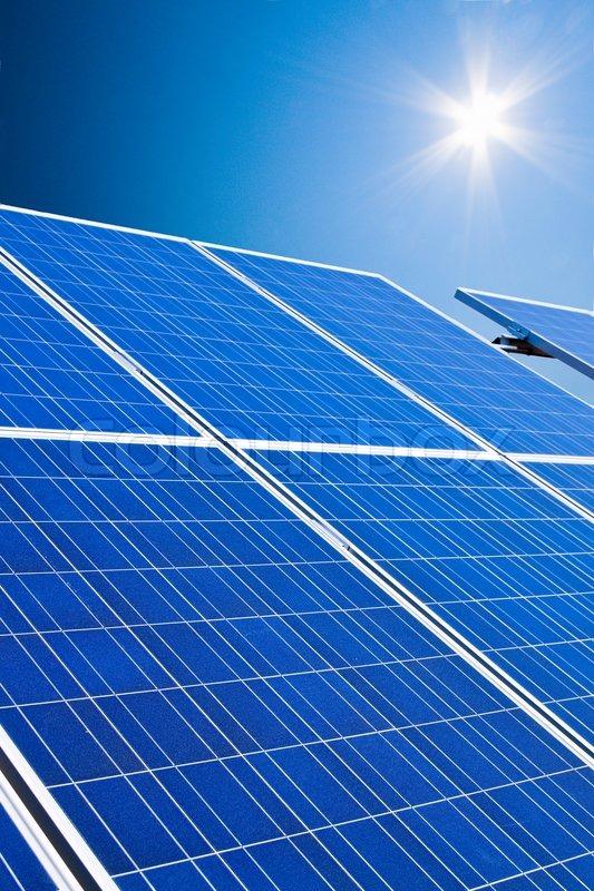 A Solar System For Solar Energy Against Stock Photo