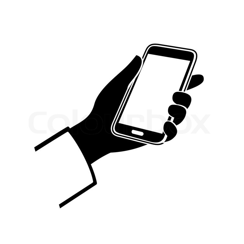 Mobile Phone in Hand Icon on White Background. Vector ...