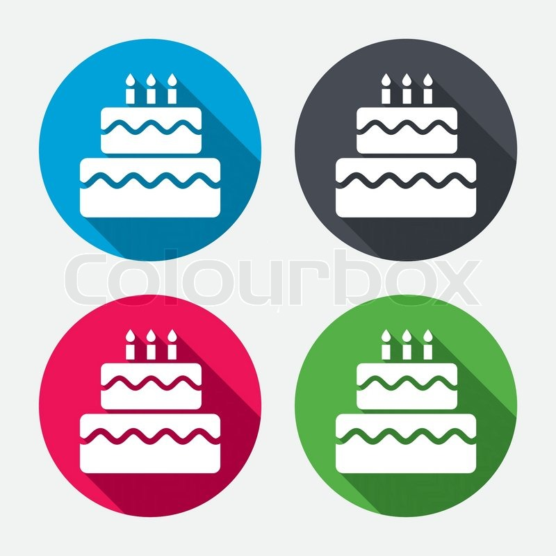 Birthday Cake Sign Icon Cake With Burning Candles Symbol Circle