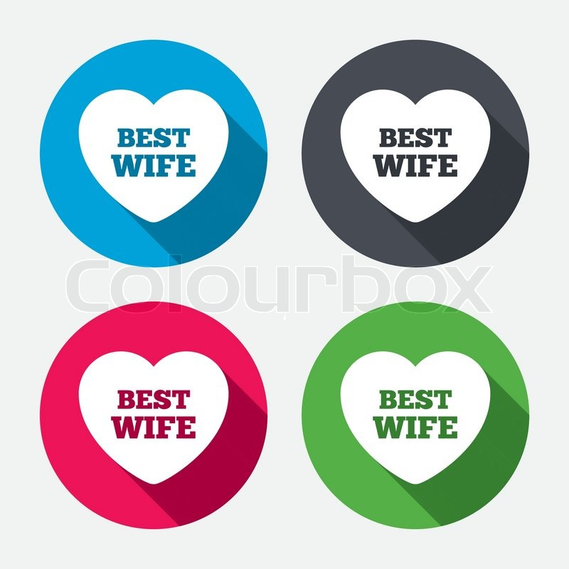 Best Wife Sign Icon Heart Love Symbol Circle Buttons With Long